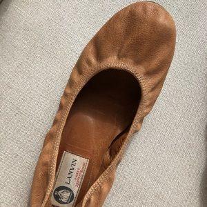 LANVIN EU38/US7.5 Ballet Flat Leather Stretch Brn